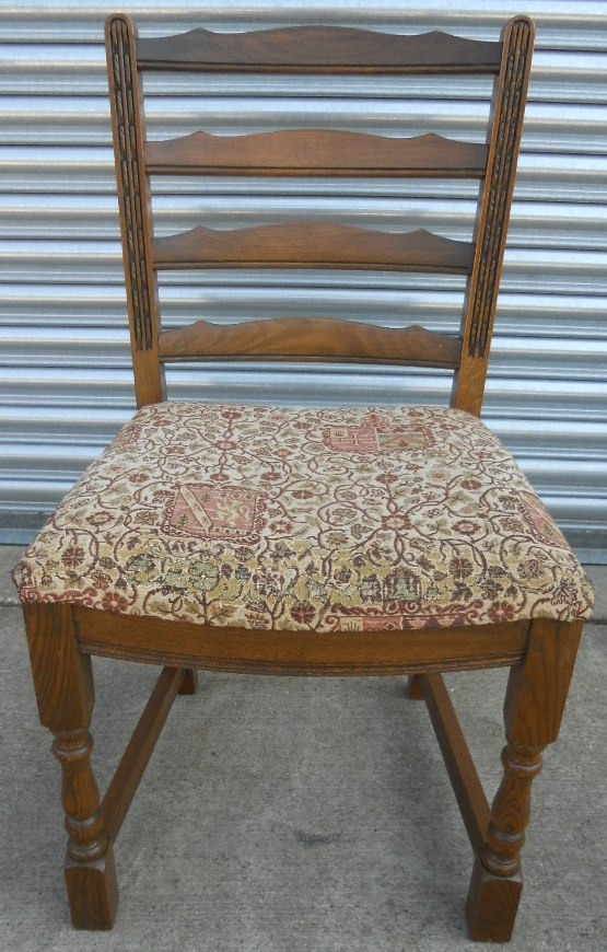 Set Of Six Old Charm Oak Dining Chairs With Upholstered